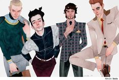 Hulkling, Wiccan, Rictor and Shatterstar by Kevin Wada.