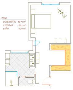 El acceso al dormitorio-suite se realiza desde la esquina donde se encuentra actualmente la puerta del cuarto de niños. Se accede a la zona de dormitorio atravesando el vestidor, ambos espacio están conectados visualmente para beneficiarse de la entrada de iluminación natural y de la ventilación cruzada que ofrece la ventana del antiguo baño, la luz y la continuidad de los materiales contribuyen a unificar todo este espacio.
