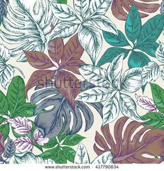 Vintage Seamless Exotic Background with Tropical Leaves, Vector Floral Botanical illustration, Nature Tropical Background