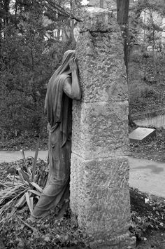 lonely 12 bw back Cemetery Monuments, Cemetery Statues, Cemetery Headstones, Old Cemeteries, Cemetery Art, Graveyards, Statue Ange, Cemetery Angels, Poster