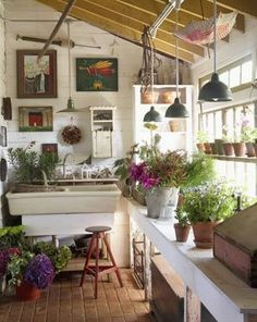 a potting room off the house....great idea!