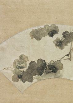 Detail. 尾形光琳 OGATA Korin. Mountain Ivy fan. Japanese painting. Eighteenth century. Philadelphia Museum of Art.