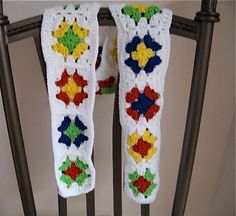 Crocheted Granny Square Scarf Primary Colors by NanaLetha on Etsy