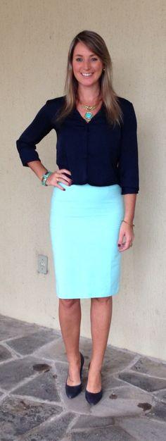 Look de trabalho - Look do dia - moda corporativa - saia lápis - saia menta - mint pencil skirt - mint and Navy - menta e marinho