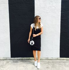 Loving this slip dress paired with a tee and white sneakers. Rubber Shoes Outfit Casual, Slip Ons Outfit, White Shoes Outfit, White Slip On Sneakers, Dress With Sneakers, Estilo Miami, Skirt Outfits, Cute Outfits, Lingerie Dress