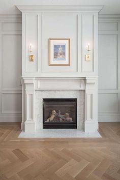 Living Room Tv, Formal Living Rooms, Living Room With Fireplace, Small Living Rooms, Living Room Designs, Fireplace Wall, Modern Living, Dining Room, Herringbone Wood Floor