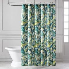 $39.95 Pier One Vibrant Paisley Teal Shower Curtain