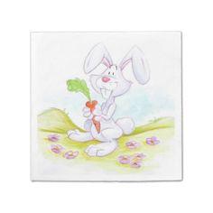 Cute cartoon napkin bunny standard cocktail napkin
