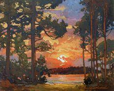 Peninsula Sunset - Giclee Art PRINT of Original Painting matted 16x20 by Jan Schmuckal