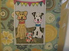 """Handmade paper collage dogs 6 x 6 """" valentines day / anniversary/birthday card, suitable for framing after use by rhondastrees on Etsy"""