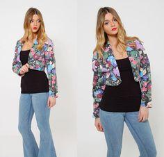 Vintage 80s PRINTED Denim Jacket CROPPED Floral Denim Jacket by LotusvintageNY