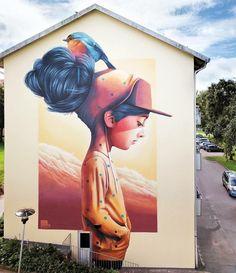 Lovely Streetart | girl, hair, bird