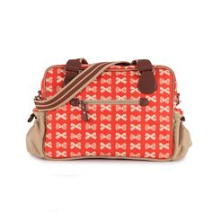 Pink Lining Not So Plain Jane Cream Bows On Red Changing Bag | Diaper Bag