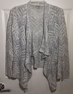 Lucky Brand Cardigan Girls XL White Silver Open Stitch Open Front Sweater NEW  | eBay