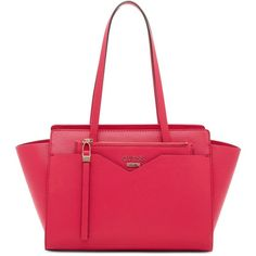 Guess Bryanna Large 2-in-1 Satchel ($118) ❤ liked on Polyvore featuring bags, handbags, passion, guess satchel, red satchel purse, vegan purses, faux leather satchel and vegan handbags