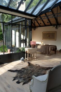 veranda steellook aluminium zwart combi hout