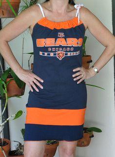 Chicago Bears nfl football navy orange shoulder by twochixremix, $29.99