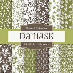 Brown Damask Digital Paper DP4951
