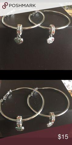 """Besties Dangly silver Pugster Charm on Silver """"Besties"""" Pugster Silver dangle Charm on a 2"""" silver lever back earring Jewelry Earrings"""