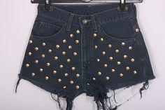 High waisted Levi Shorts Denim Vintage Destroyed DIY Cut Off Jeans M. $49.00, via Etsy.