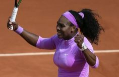 Serena Williams of the U.S. reacts as she defeats compatriot Sloane Stephens during their fourth round match of the French Open tennis tournament at t...