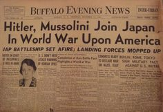 Germany and Italy Declare War on The U.S.  Dec 11, 1941