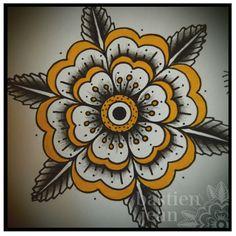 traditional geometric flower tattoo - Google Search