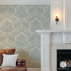 Painting Classic European Designs on Accent Wall - Brighton Manor Damask Wall Stencils - Royal Design Studio Damask Wall Stencils, Stencil Painting On Walls, Large Stencils, Tile Stencils, Floor Painting, Stencil Designs, Flower Stencils, Interior Painting, Stenciling
