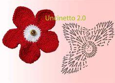 Lo schema di un fiorellino a uncinetto che decora in mille modi: chiudi-pacco per i doni di Natale, per un cappello, o tanti insieme per una collana.