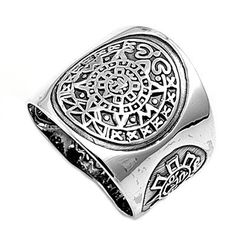 Aztec Mayan Calendar Ring Sterling Silver 925