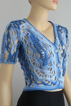 Cotton Freeform Crochet Cardigan Shrug Jacket by levintovich
