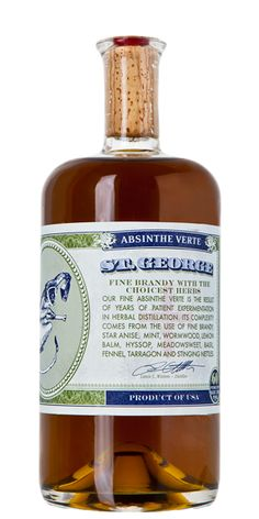 St. George Absinthe Verte - Flaviar The first legal American Absinthe! It took them 11 years to perfect the perfect formula. It's made by infusing Brandy with the unholy trinity of wormwood, fennel, and star anise, and many more herbs in their second infusion.