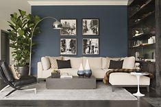 20 Lovely Living Room Design Ideas for 2019 - Rearwad Blue Accent Walls, Accent Walls In Living Room, Living Room Flooring, Living Room Grey, Living Room Decor, Living Rooms, Living Spaces, Bathroom Flooring, Kitchen Flooring