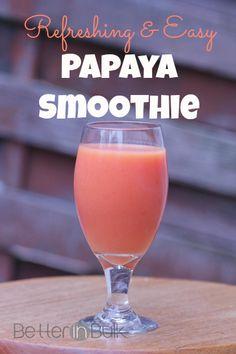 Refreshing and Easy Papaya Smoothie // Papaya, Lime Juice, Orange Juice, Yogurt Papaya Smoothie, Juice Smoothie, Smoothie Drinks, Smoothie Bowl, Healthy Smoothies, Healthy Drinks, Smoothie Recipes, Healthy Recipes, Papaya Drink