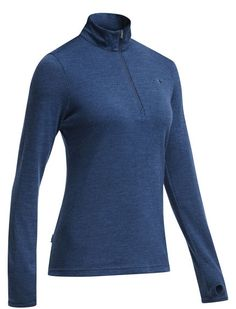 Original Long Sleeve Half Zip | The women's Original Long Sleeve Half zip is one of our earliest designs, and has developed an iconic status as one of the most versatile sweaters a woman can own. This timeless classic is made from 320gm pure merino Jersey, a very soft, breathable, warm fabric that resists pilling, fights odor naturally, and looks great in every environment. The Original Long Sleeve Half Zip makes a great midlayer for skiing, a warm but breathable top for hikes in cool to…