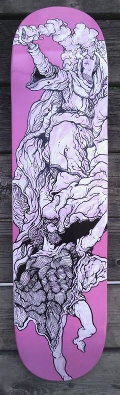 """Saints Bartholomew and Lucy"" Acrylic paint and acrylic paint markers Art work by Ben Mackey   One of a kind hand painted 8.5"" x 31"" skateboard deck  *note this deck is currently showing at Eronel 285 Main St. Dubuque, IA in The Dark Slide Fall Skate Art Show until Nov. 28th and will not sh..."