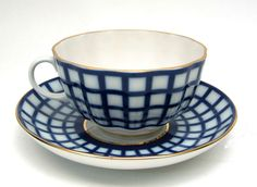Quatro Tea Cup and Saucer from the Lomonosov Porcelain Factory at the Russian Gift Shop in Lisle IL