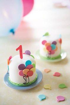 Miniature birthday cake, made using Lindy Smith Mini Cakes Academy Book!