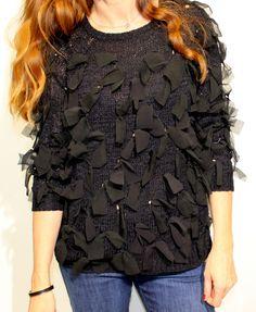 Jersey en color negro punto de seda con lazitos negros de English Factory Tienda online   Moda mujer y hombre