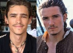 Brenton Thwaites  on left and Orlando Bloom on right  play in the new Pirates of the carribean dead men tell no tales movie that premiers on may 26, 2017