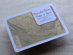 Mexico Wedding Save the Date Postcard - Mexican Vintage Map - Destination Travel Theme - SAMPLE by ImbueYouIDo on Etsy https://www.etsy.com/listing/126496764/mexico-wedding-save-the-date-postcard