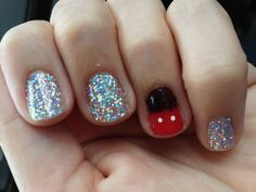 Glitter disney nails!! Mickey Mouse!