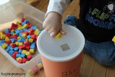 Activity with Shapes using soft shapes from Michaels and an oatmeal container. We get this activity out frequently and keeps my little one occupied for a long time