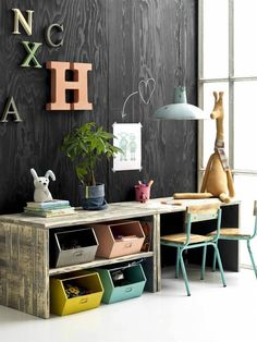 For the kids study room, so artistic. Study Nook, Kids Study, Kids Work, Kids Bedroom Organization, Organization Ideas, Playroom Storage, Deco Kids, Kid Desk, Homework Desk