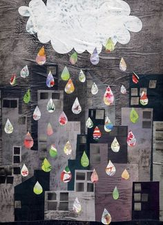 Raining art by MamaFarfalla we could cut out building shapes, glue to WC background, use painted pages, mag pages, for rain drops!