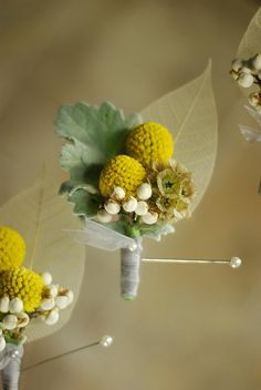 Boutonniere - Billy buttons, Texas Tallow Berries, Scabiosa Pods, Dusty Miller, Skeleton leaves | design and photo by Amrose Flowers | amroseflowers.com | Raleigh, NC