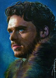 Richard Madden in the scene he was proclaimed 'King in the North' by his bannermen 2.5*3.5 card sized artwork watercolor/markers/multiliners Game of Thrones Collection