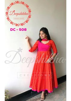 Beautiful red color plaid floor length anarkali dress with sleeves. For queries kindly WhatsApp: 9059683293 16 July 2018 Salwar Neck Designs, Churidar Designs, Dress Neck Designs, Blouse Designs, Girls Frock Design, Long Dress Design, Designer Anarkali Dresses, Designer Dresses, Simple Dresses