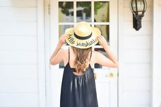the perfect summer maxi paired with an adorable floppy sun hat! || Made in Missouri || spring style || spring fashion || Shopbop || black maxi dress || lbd || floppy hat || hello sunshine ||