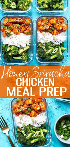 These Honey Sriracha Chicken Meal Prep Bowls with broccoli and jasmine rice are a delicious lunch idea that can be prepped ahead on one pan – and the sauce comes together so easily with only 3 ingredients! -The Girl on Bloor One Pan Meal Prep, Lunch Meal Prep, Meal Prep Bowls, Easy Meal Prep, Healthy Meal Prep, Healthy Student Meals, Healthy Food, Eating Healthy, Yummy Food